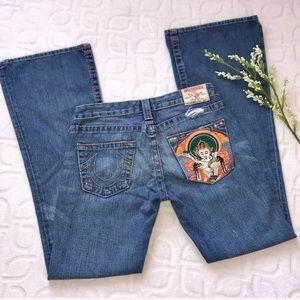 TRUE RELIGION BOBBY Godiva Embroidered Flare Jeans